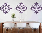 3 Large Damask Vinyl Wall Decal