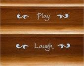 Happy Words Stair Riser Vinyl Decals - 12 Stairs