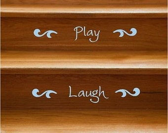 Happy Words Stair Riser Vinyl Decals - 12 Stairs