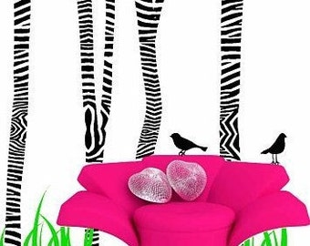 Zebra Print Safari Animal Trees Vinyl Wall Decals
