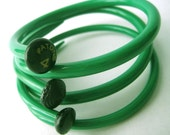Upcycled Knitting Needle Bracelets Kelly Green Medium