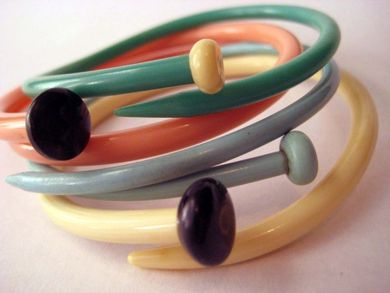 Repurposed & Upcycled Vintage knitting needle bracelets -  Set Of 4 - 50s Pastels -SMALL-