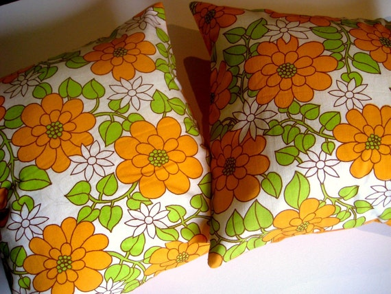 Pillow Covers in Vintage fabric  Lime & Orange  16 inch  40 cm PAIR