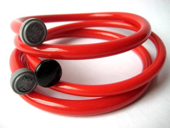 Knitting needle bracelets Fire Engine Red  X LARGE