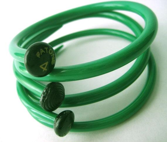 Upcycled Knitting Needle Bracelets Kelly Green Medium