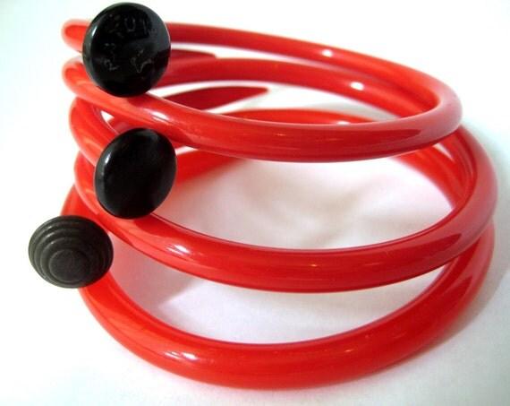 Knitting needles bracelets Fire Engine Red  Medium