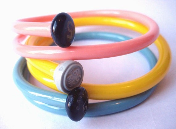 Recycled Knitting needle bracelets Retro pastels  MEDIUM