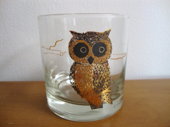 Vintage Couroc Owl Drinking Glass