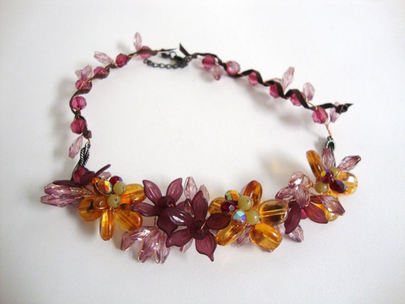 Purple and Amber Wire Floral Necklace
