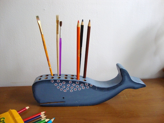 Wood Blue Whale Pencil Holder
