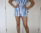 70s 80s Blue and White Striped Romper Beachy