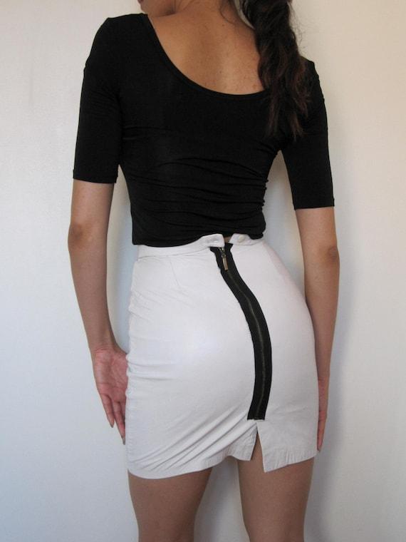White leather Mini Skirt Highwaist