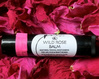 Wild Rose Balm, Organic Lip Balm, Beauty Balm, Infused Wild Roses, Eco Friendly, Recycled Plastic Tube, .15 oz