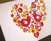 Love Birds - Letterpress mini card
