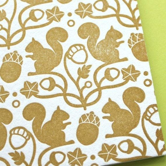 Squirrel and Acorn - Letterpress mini card