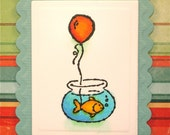 Goldfish Birthday Card with a Red Party Balloon