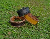 Choose Your Color Hand Stitched Engraved Leather Bracelet 2cm (Custom)