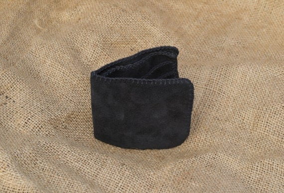 Black Suede Simple Wallet - Hand Cut, Chiselled and Stitched