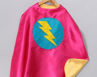 Childrens double sided lightning bolt superhero cape - As featured on Zulily - Girl birthday present