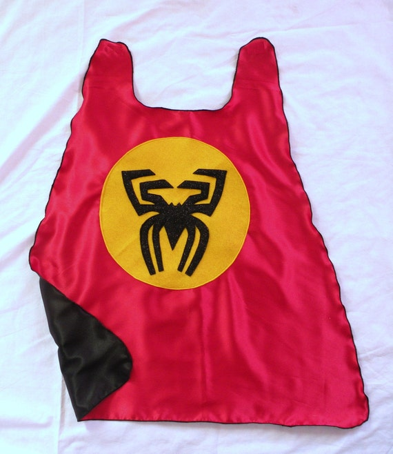Boy red and black SPIDERMAN double sided Hero Cape Holiday Ready to ship