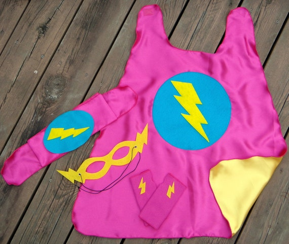 Ships Fast - Childrens Super Hero Cape PLUS Accessory Set Choose from 10 sets - Superhero Birthday Party