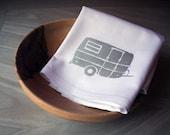 Tea Towel. Camper in Silver. Hand Screen Printed.