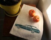 Tea Towel. Impala Station Wagon in Turquoise. Hand Screen Printed.
