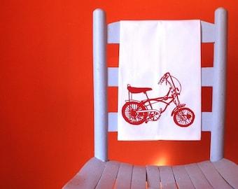 Tea Towel. Bike in Red. Hand Screen Printed.