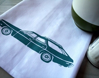 Tea Towel. Impala Station Wagon in Turquoise. Hand Screen Printed.