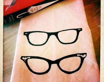 Tea Towel. Retro Glasses in Black. Hand Screen Printed.