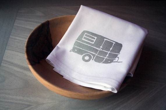Silver Camper Screen Printed Kitchen Towel