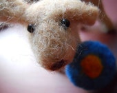 Tan Needle Felted Dog with Frisbee