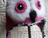 Valentine Day Celebration - FREE SHIPPING - Funky Fuzzy Owl Hat in Bright Pink/Black/White