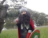 Combination Soft, Curly Crocheted Full length Beard and Mustache and Viking Hat/1yo - 5yo