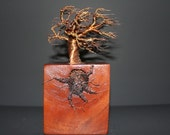 NUMBER 11''WIND AND WOOD'' wire tree sculpture