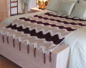 KNIT QUEEN AFGHAN:, hand knitted, for Bedroom' Living room/den, Traditional, in beige, claret  red and ivory and brown yarn