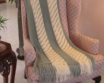 FERN GREEN/IVORY, Afghan, extra large, hand knitted, in  a  worsted weight yarn with fringe,74 inches by 48