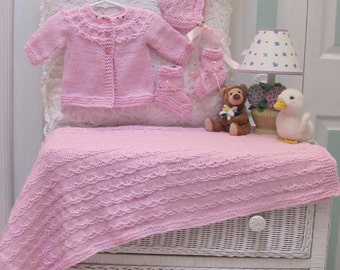 LAYETTE, KNIT, PINK,  sweater, hat, booties and blanket made of a soft baby yarn