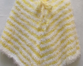 SALE ITEM--GIRL'S Poncho, size for 6 To 8 year old, hand knitted, Yellow and white, hand knitted, cuddley yarn,  for the young girl