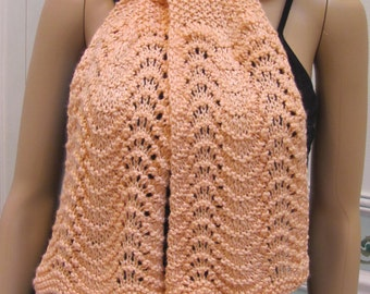 "Delicate peach scarf, called ""Countess of Bathory"", hand knitted in a soft, lacey  pattern"