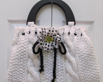 KNIT HANDBAG/ PURSE: White, Designer style,  hand knitted in a cable and seed stitch , fully lined, with a pocket