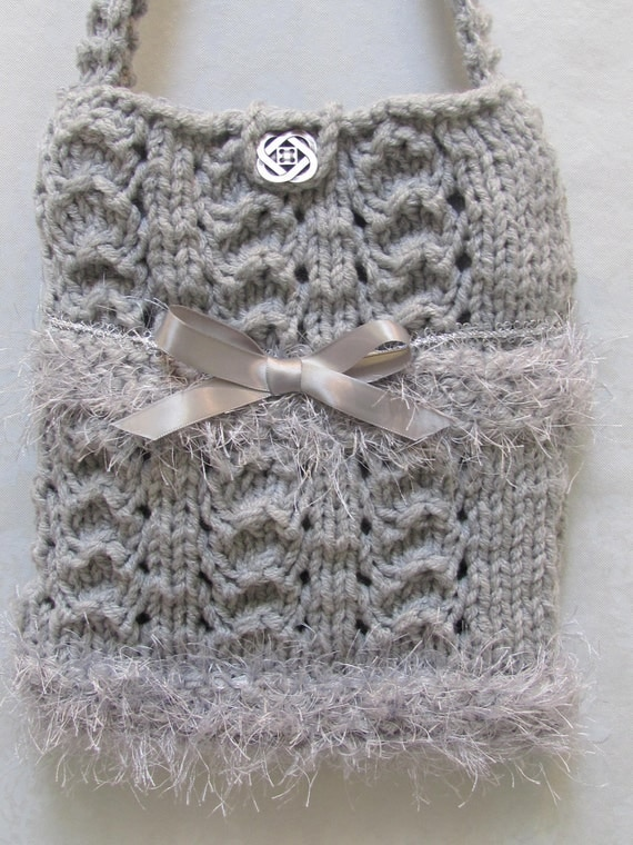 Grey wool, purse/ handbag, hand knitted, with silver grey fun fur and silver ribbon,  fully lined