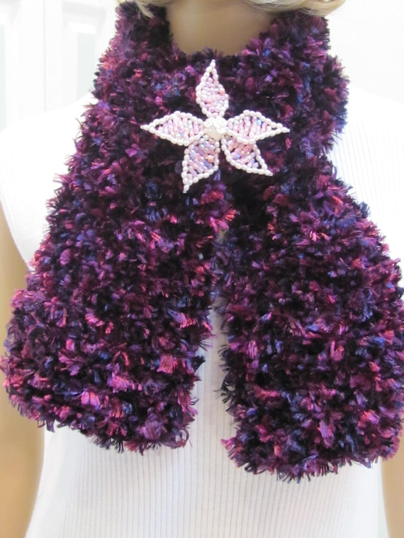 HOLIDAY SALE ITEM-Scarflette, Multi purple/lilac ribbon,with beaded pink and white and pink pearl  brooch