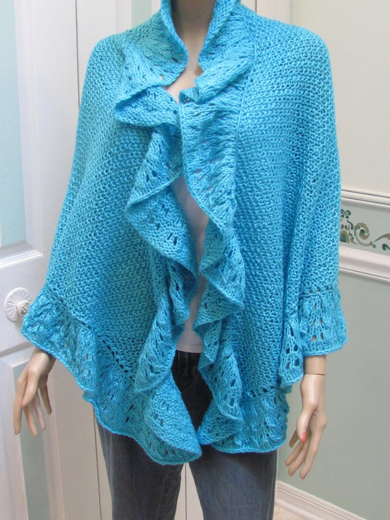 Princess Kate Middleton style shawl in Turquoise three