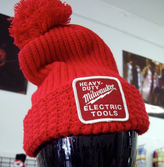 Bright Vintage Milwaukee Electric Tools Red Knit Cap -Never Get Lost in a Crowd Again