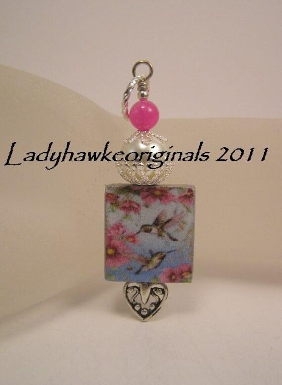 Fuschia Hummingbird Scrabble Tile Pendant Charm Flower  Beaded Dangle Silver Heart Altered Art