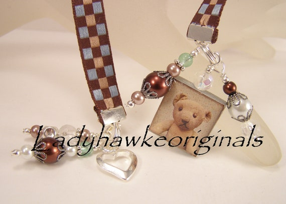 Vintage Teddy Bear Scrabble Tile Bookmark Ribbon Charm Heart Beaded Image Dangle Altered Art OOAK OKetsy HMA
