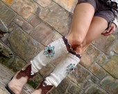 ivory white LEG WARMERS with STARFISH flower upcycled