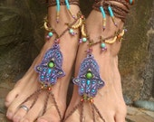 HAMSA hand BAREFOOT sandals belly DANCE foot jewelry nude shoes photo shoot props hippie bohemian hand made unique