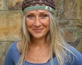 BOHO CHIC BEANIE earthy brown green cotton hat crochet beanie hippie bohemian made to order